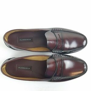 Florsheim Leather Burgundy Penny Loafer 14D Medium